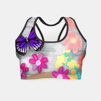 Thumbnail image of coffee cup and butterflies Crop Top, Live Heroes