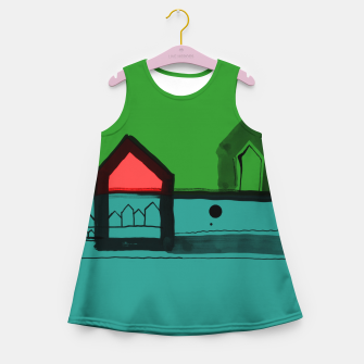 Thumbnail image of Red, Black Houses No.: 03 in Color Girl's summer dress, Live Heroes