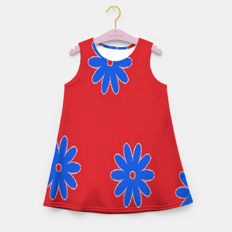 Thumbnail image of Blue flower on red Girl's summer dress, Live Heroes