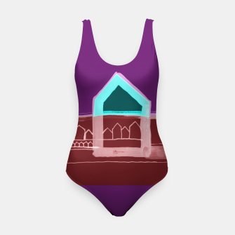 """Thumbnail image of Red, Black Houses No.: 03 in Brown and Purple """"Paper Drawings/Paintings""""  Swimsuit, Live Heroes"""