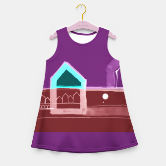 """Thumbnail image of Red, Black Houses No.: 03 in Brown and Purple """"Paper Drawings/Paintings""""  Girl's summer dress, Live Heroes"""