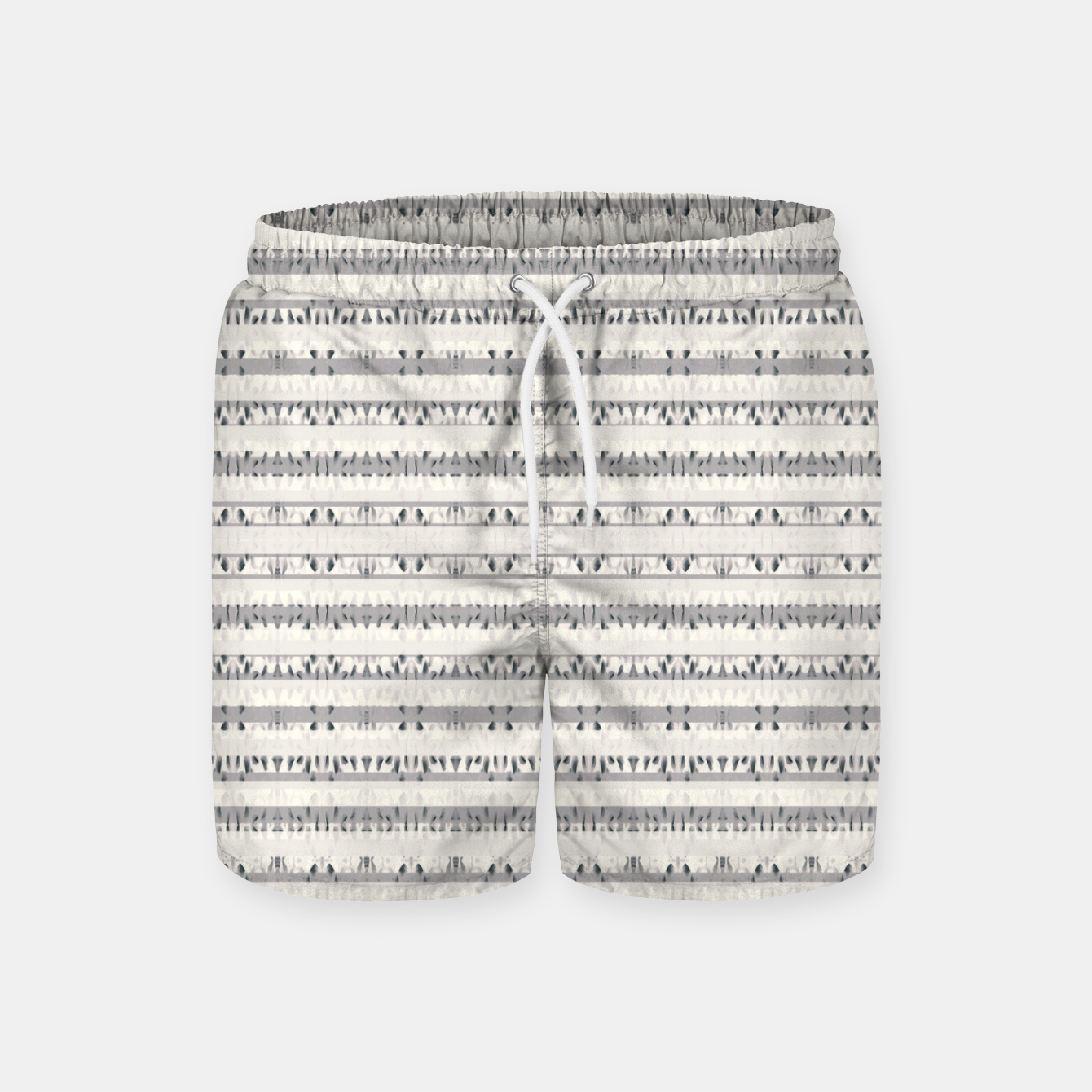 Image of Mixed Gray Striped Ethnic Seamless Pattern Swim Shorts - Live Heroes