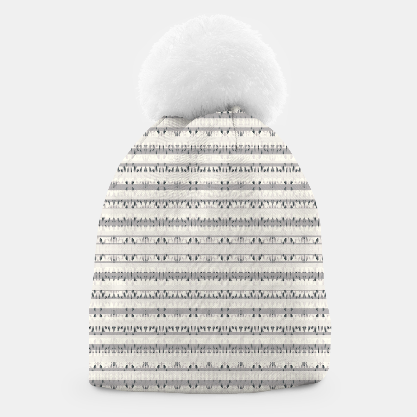 Image of Mixed Gray Striped Ethnic Seamless Pattern Beanie - Live Heroes