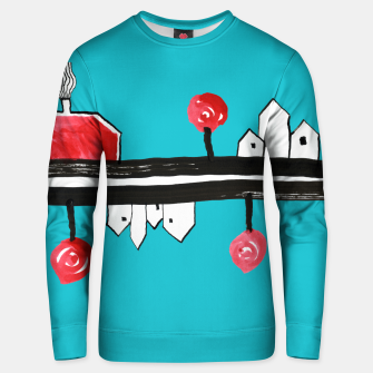 """Thumbnail image of Little Village by the Road on Light Blue """"Paper Drawings/Paintings""""  Unisex sweater, Live Heroes"""