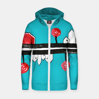 """Thumbnail image of Little Village by the Road on Light Blue """"Paper Drawings/Paintings""""  Zip up hoodie, Live Heroes"""