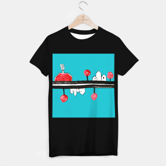 """Thumbnail image of Little Village by the Road on Light Blue """"Paper Drawings/Paintings""""  T-shirt regular, Live Heroes"""