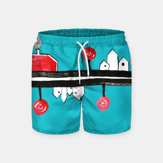"""Thumbnail image of Little Village by the Road on Light Blue """"Paper Drawings/Paintings""""  Swim Shorts, Live Heroes"""