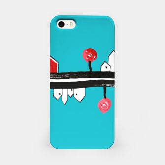 """Thumbnail image of Little Village by the Road on Light Blue """"Paper Drawings/Paintings""""  iPhone Case, Live Heroes"""