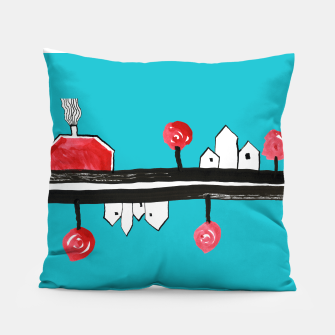 """Thumbnail image of Little Village by the Road on Light Blue """"Paper Drawings/Paintings""""  Pillow, Live Heroes"""