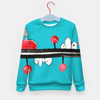 """Thumbnail image of Little Village by the Road on Light Blue """"Paper Drawings/Paintings""""  Kid's sweater, Live Heroes"""