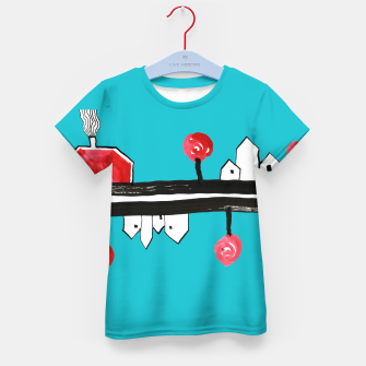 """Thumbnail image of Little Village by the Road on Light Blue """"Paper Drawings/Paintings""""  Kid's t-shirt, Live Heroes"""