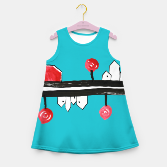 """Thumbnail image of Little Village by the Road on Light Blue """"Paper Drawings/Paintings""""  Girl's summer dress, Live Heroes"""