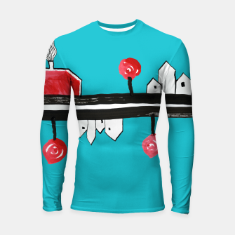 """Thumbnail image of Little Village by the Road on Light Blue """"Paper Drawings/Paintings""""  Longsleeve rashguard , Live Heroes"""