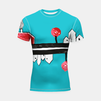 """Thumbnail image of Little Village by the Road on Light Blue """"Paper Drawings/Paintings""""  Shortsleeve rashguard, Live Heroes"""