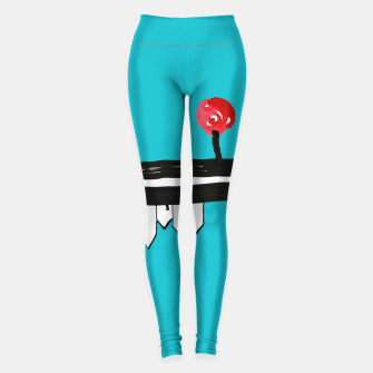 """Thumbnail image of Little Village by the Road on Light Blue """"Paper Drawings/Paintings""""  Leggings, Live Heroes"""