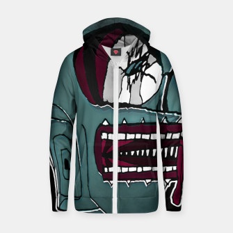 Thumbnail image of Colored Creepy Man Portrait Illustration Zip up hoodie, Live Heroes