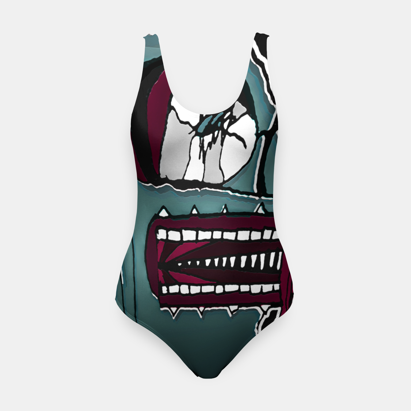 Image of Colored Creepy Man Portrait Illustration Swimsuit - Live Heroes