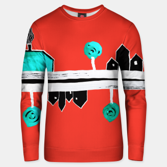 """Thumbnail image of  Little Village by the Road on Orange """"Paper Drawings/Paintings""""  Unisex sweater, Live Heroes"""