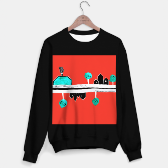 """Thumbnail image of  Little Village by the Road on Orange """"Paper Drawings/Paintings""""  Sweater regular, Live Heroes"""
