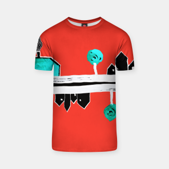 """Thumbnail image of  Little Village by the Road on Orange """"Paper Drawings/Paintings""""  T-shirt, Live Heroes"""
