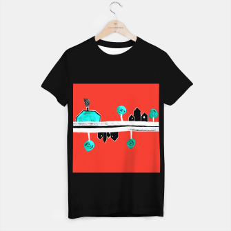 """Thumbnail image of  Little Village by the Road on Orange """"Paper Drawings/Paintings""""  T-shirt regular, Live Heroes"""