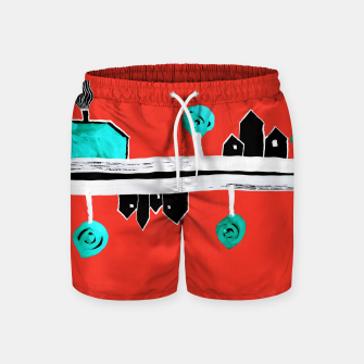"""Thumbnail image of  Little Village by the Road on Orange """"Paper Drawings/Paintings""""  Swim Shorts, Live Heroes"""