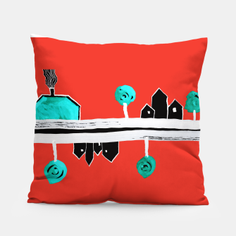 """Thumbnail image of  Little Village by the Road on Orange """"Paper Drawings/Paintings""""  Pillow, Live Heroes"""