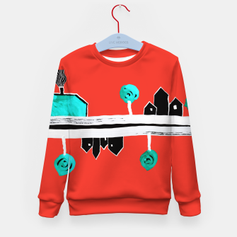 """Thumbnail image of  Little Village by the Road on Orange """"Paper Drawings/Paintings""""  Kid's sweater, Live Heroes"""