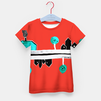 """Thumbnail image of  Little Village by the Road on Orange """"Paper Drawings/Paintings""""  Kid's t-shirt, Live Heroes"""