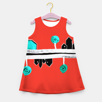 """Thumbnail image of  Little Village by the Road on Orange """"Paper Drawings/Paintings""""  Girl's summer dress, Live Heroes"""