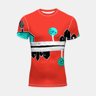 """Thumbnail image of  Little Village by the Road on Orange """"Paper Drawings/Paintings""""  Shortsleeve rashguard, Live Heroes"""