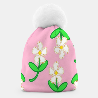 Miniatur White florals on pink Beanie, Live Heroes