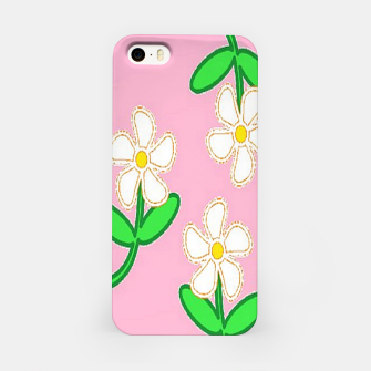 Miniatur White florals on pink iPhone Case, Live Heroes