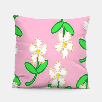 Miniatur White florals on pink Pillow, Live Heroes