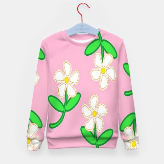 Miniatur White florals on pink Kid's sweater, Live Heroes
