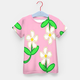 Miniatur White florals on pink Kid's t-shirt, Live Heroes