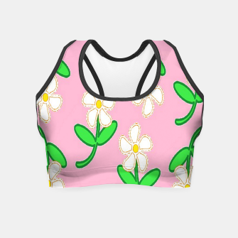 Miniatur White florals on pink Crop Top, Live Heroes