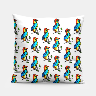 """Thumbnail image of Color Birds on a Twigs """"Paper Drawings/Paintings""""  Pillow, Live Heroes"""