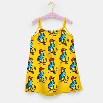 Thumbnail image of Color Birds on a Twigs on Orange Board  Girl's dress, Live Heroes