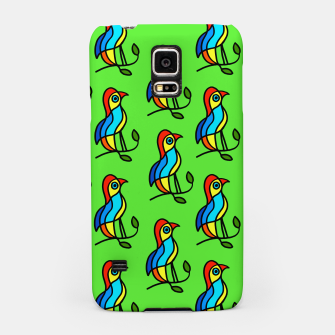 """Thumbnail image of  Color Birds on a Twigs on Light Green Board  """"Paper Drawings/Paintings""""  Samsung Case, Live Heroes"""