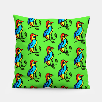 """Thumbnail image of  Color Birds on a Twigs on Light Green Board  """"Paper Drawings/Paintings""""  Pillow, Live Heroes"""