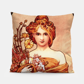Spring The Golden Beauty by Alphonse Mucha Pillow thumbnail image