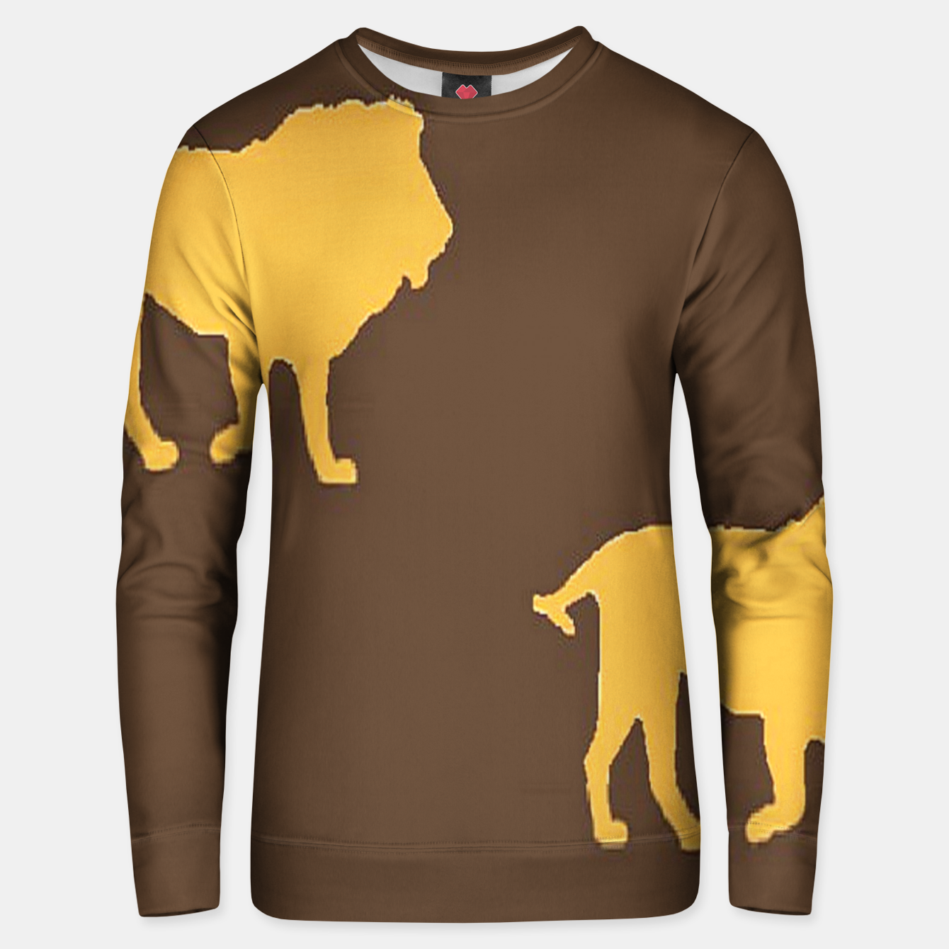 Image of Gold lions on brown Unisex sweater - Live Heroes