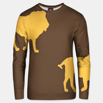 Thumbnail image of Gold lions on brown Unisex sweater, Live Heroes