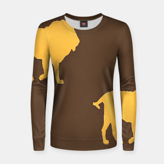 Thumbnail image of Gold lions on brown Women sweater, Live Heroes