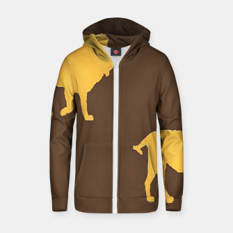 Gold lions on brown Zip up hoodie thumbnail image