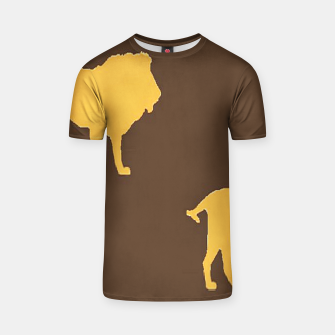 Gold lions on brown T-shirt thumbnail image