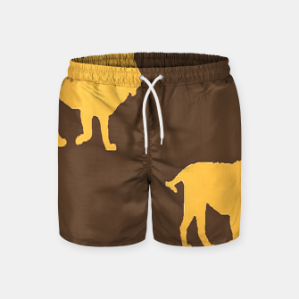 Thumbnail image of Gold lions on brown Swim Shorts, Live Heroes