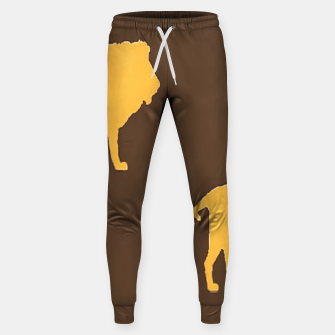 Thumbnail image of Gold lions on brown Sweatpants, Live Heroes