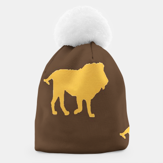 Thumbnail image of Gold lions on brown Beanie, Live Heroes